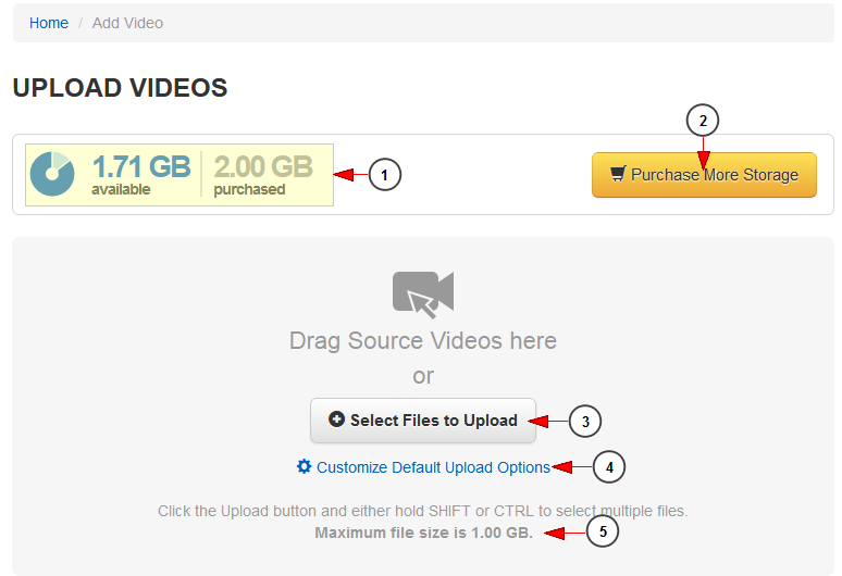 can upload video files, directly encode videos and